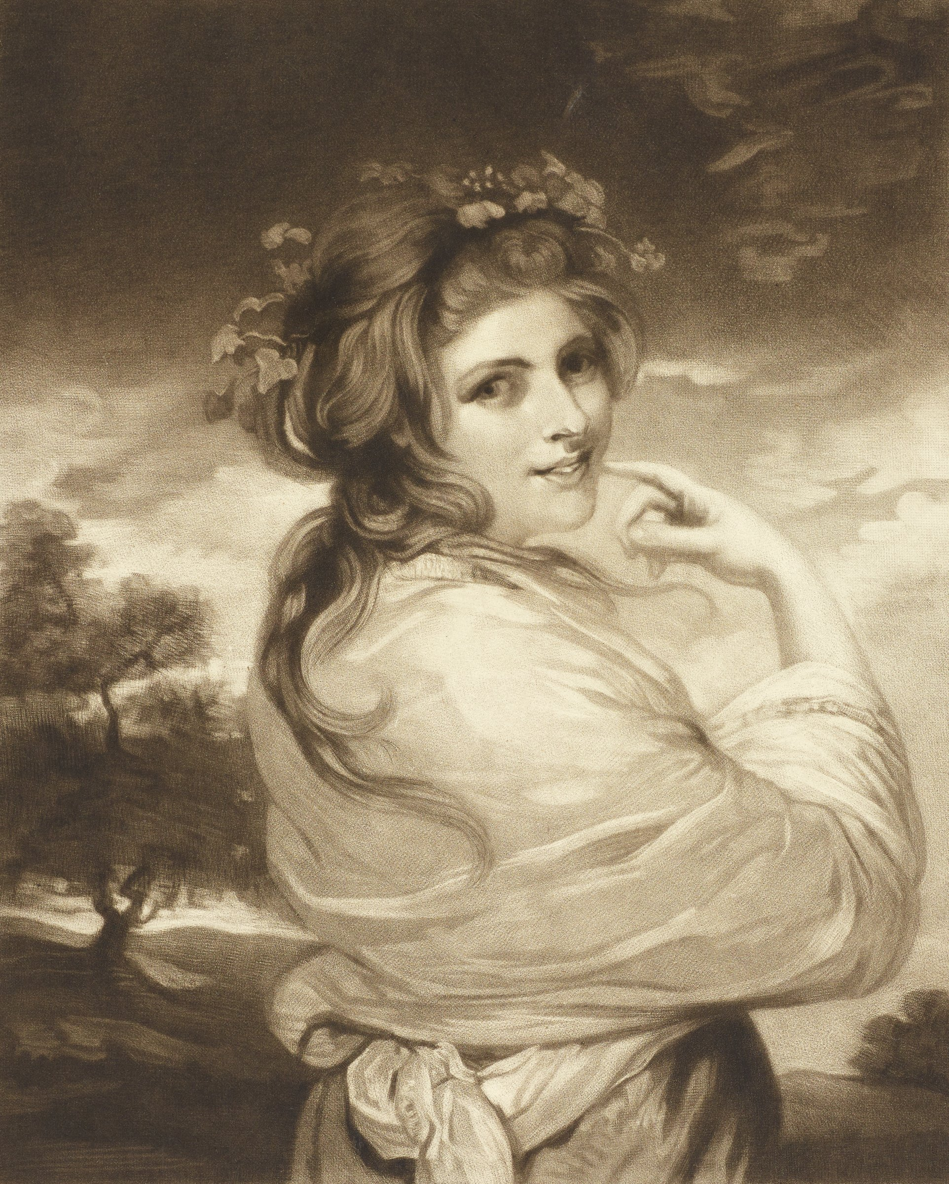 Portrait of Emma Hart Hamilton, half-length, directed away from viewer but head turned to look over her right shoulder, with loose hair topped by a grape vine wreath, a shawl over her shoulders, right hand gesturing toward her face; after painted portrait by Reynolds.