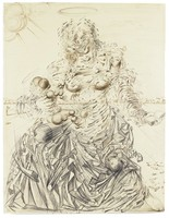A classical Madonna and Child composition in pen and ink, though save for the Madonna's hands, rendered as a whirling frenzy of geometric fragments.