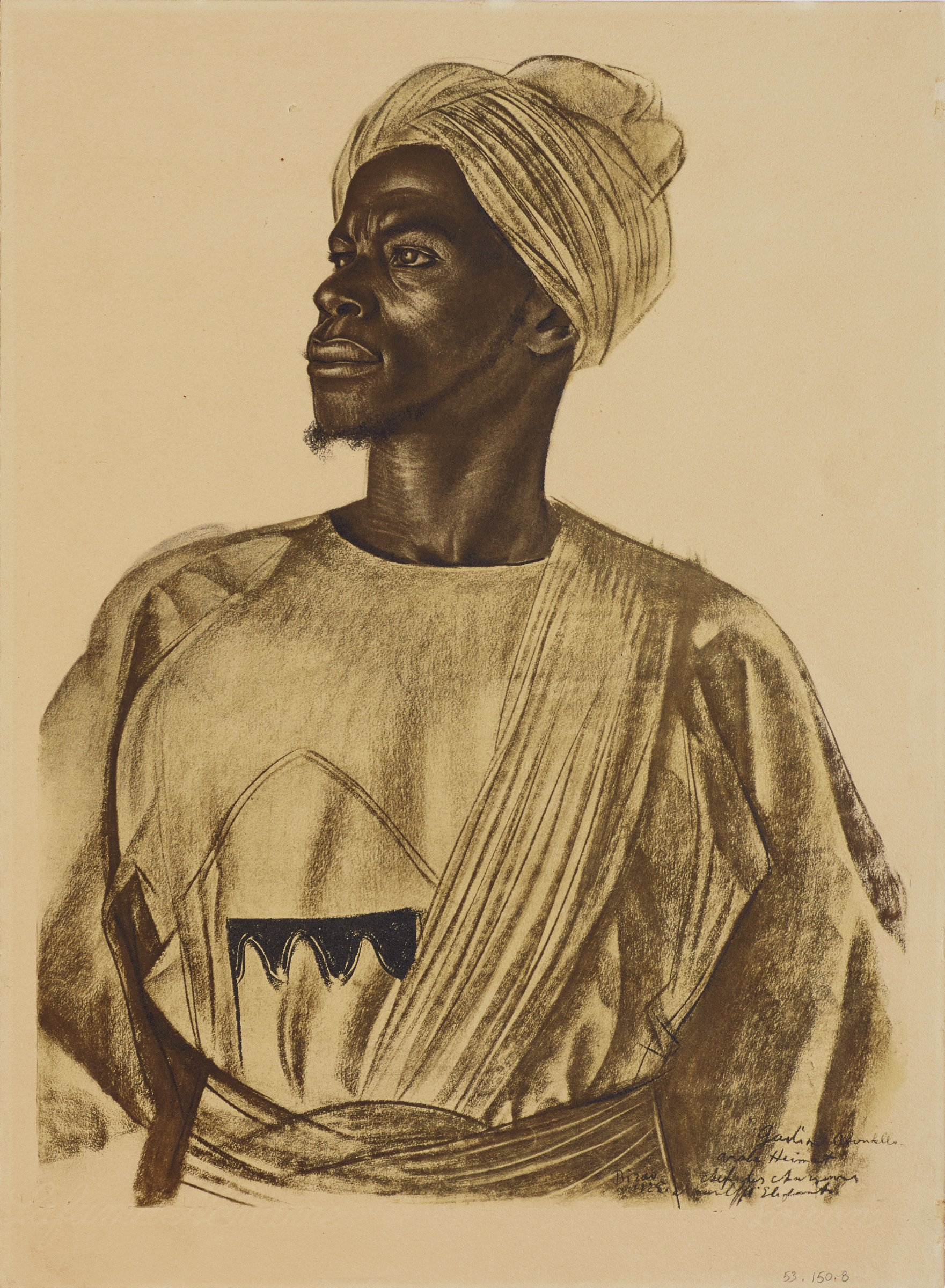 Half length portrait of a male figure. His body faces forward as he turns his head to the left and looks upwards. He wears a robe with a belt and sash. This series is a product of Jacovleff's involvement in the Expédition Citroën Centre-Afrique.