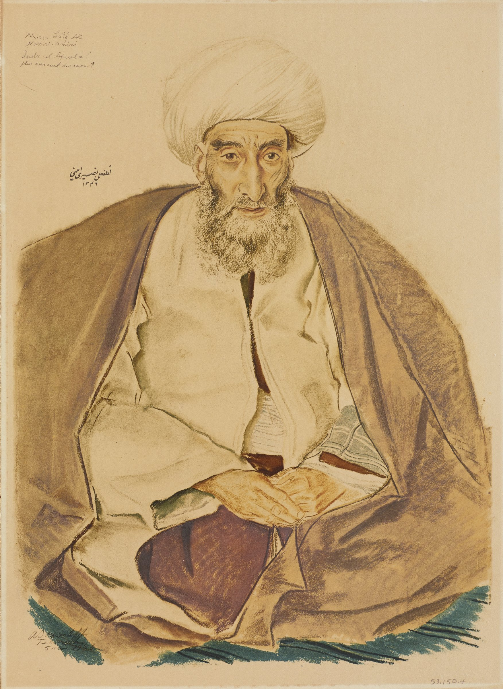 Full length portrait of male figure sitting with legs cross and fingers laced placed in his lap. He wears a white turban and white jacket with a large piece of brown fabric draped over his shoulders. This series is a product of Jacovleff's involvement in the Expédition Citroën Centre-Asie.