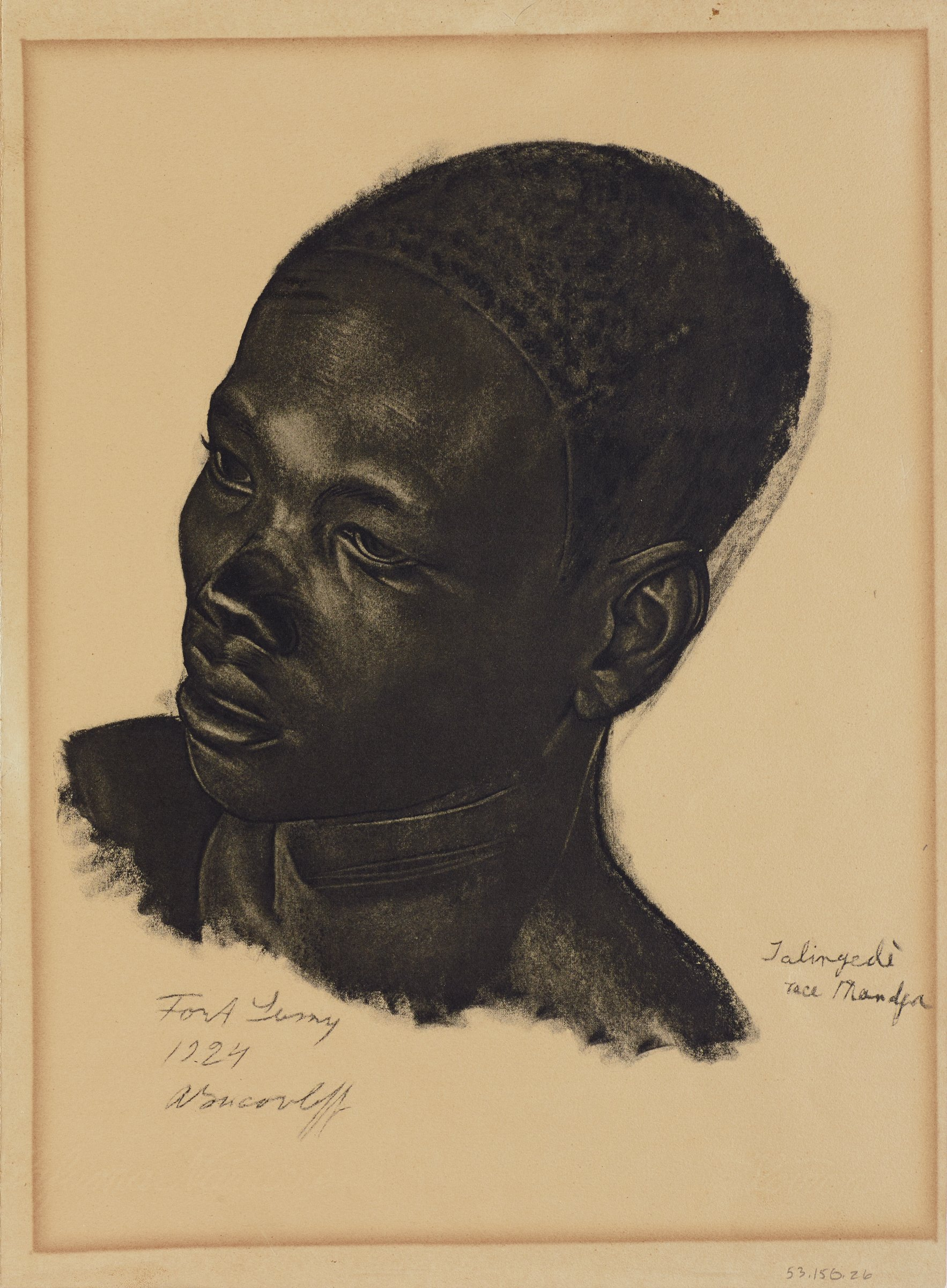 Bust portrait of a figure titled slightly towards the right as he faces slightly left. This series is a product of Jacovleff's involvement in the Expédition Citroën Centre-Afrique.