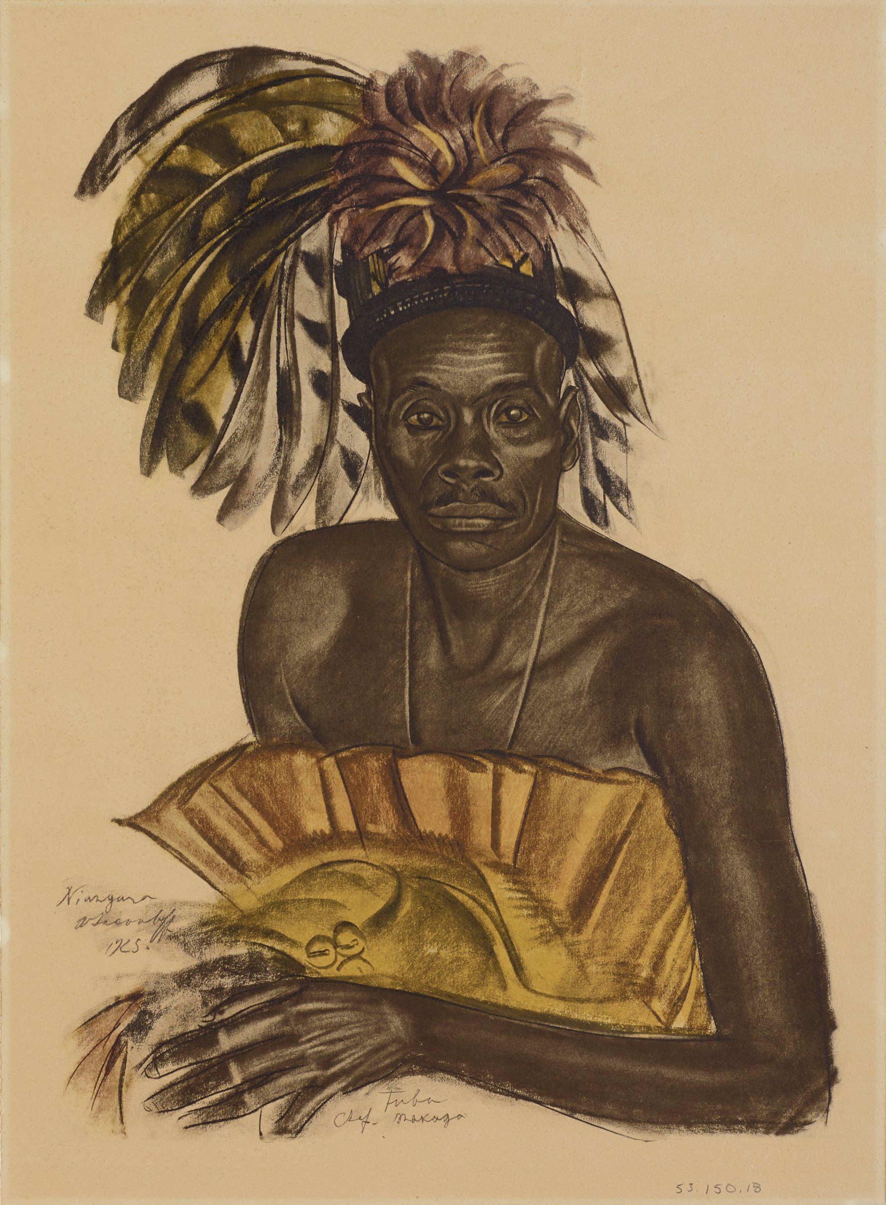 Half-length portrait of a male figure with feathered headwear. He leans slightly forward as he looks out at the viewer. This series is a product of Jacovleff's involvement in the Expédition Citroën Centre-Afrique.