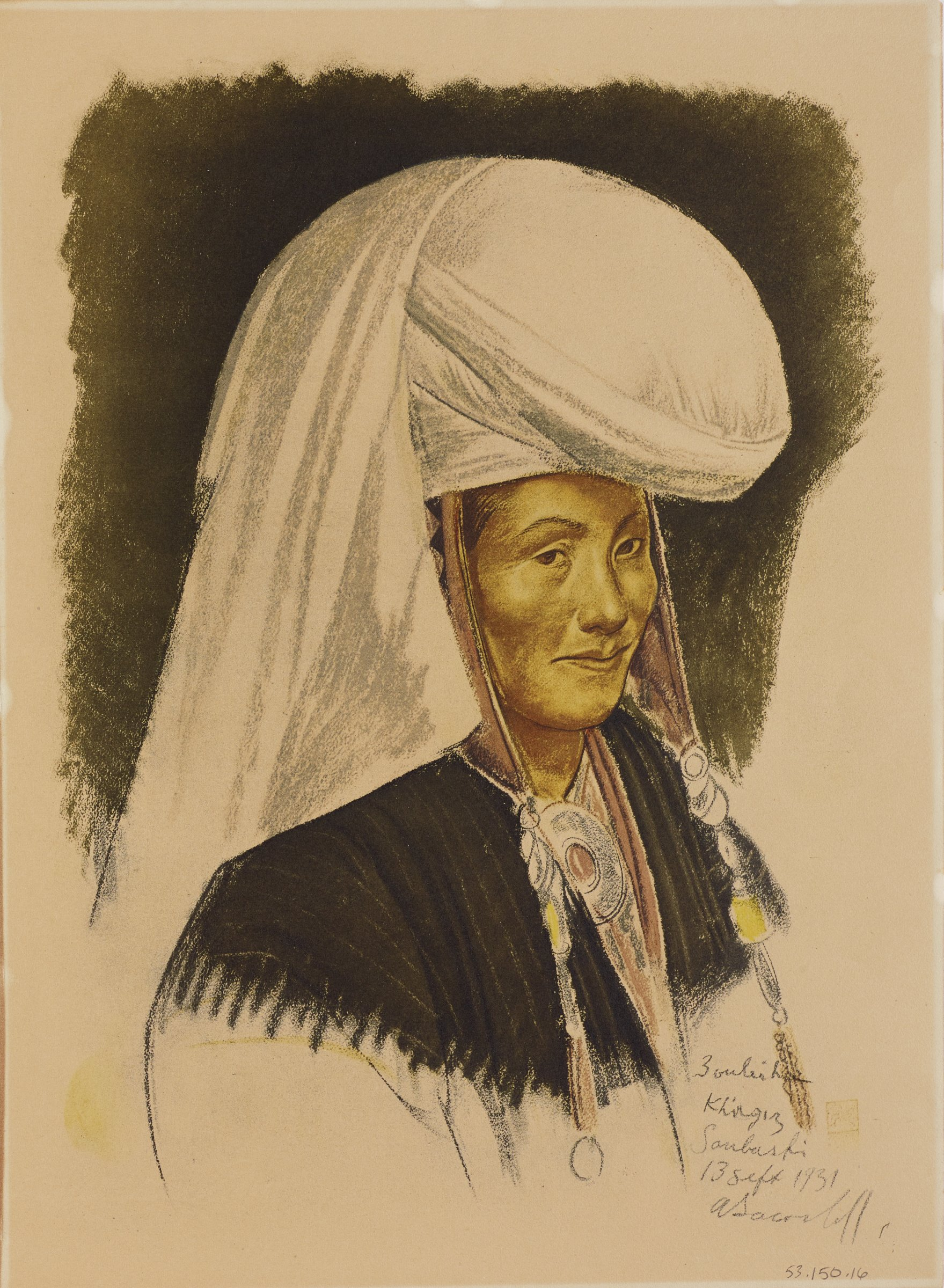 Bust portrait of a male figure with a large white turban adorned with beads hanging from the sides. He wears a necklace with a circlular pendant. His body is turned to the right as he faces the viewer. This series is a product of Jacovleff's involvement in the Expédition Citroën Centre-Asie.