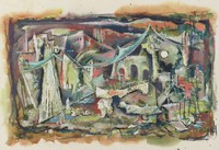 Abstract of a ruined building