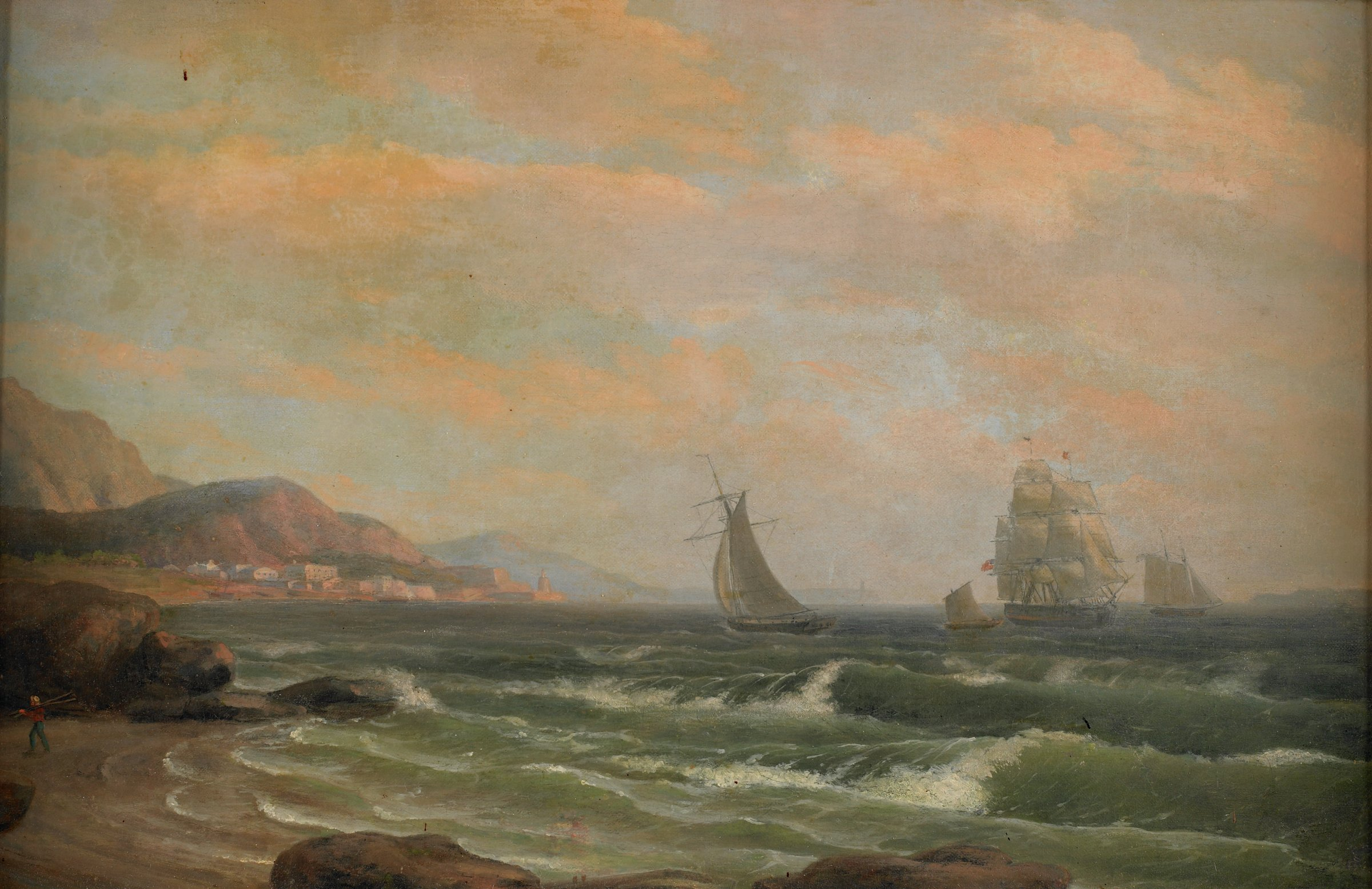 American Frigate in the Bay of St. Helena, Thomas Birch, oil on canvas