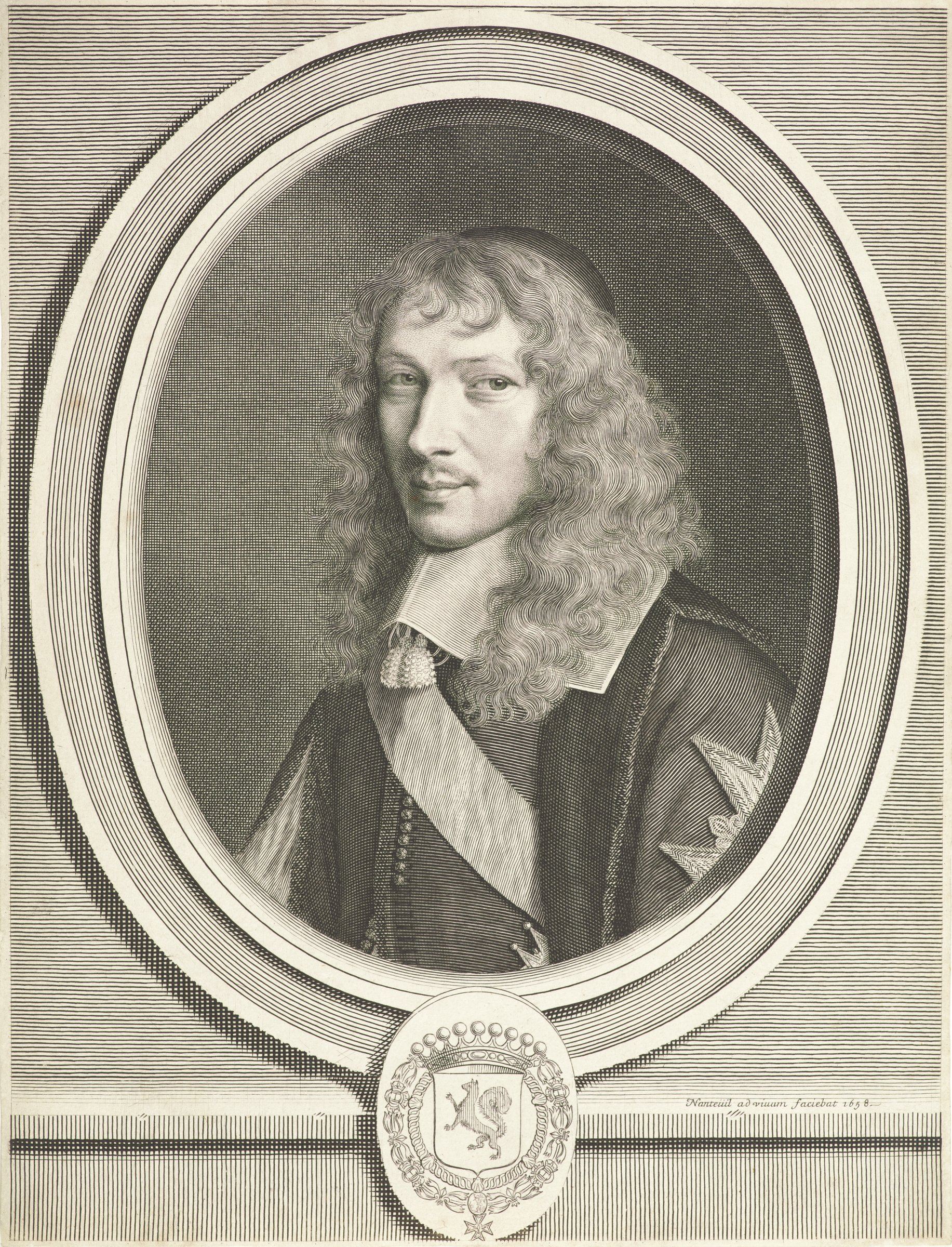 Portrait of Basile Fouquet with long curly hair wearing a zucchetto and a wide collar with short tassels. He is depicted within an oval frame. Below the frame is a crowned crest.
