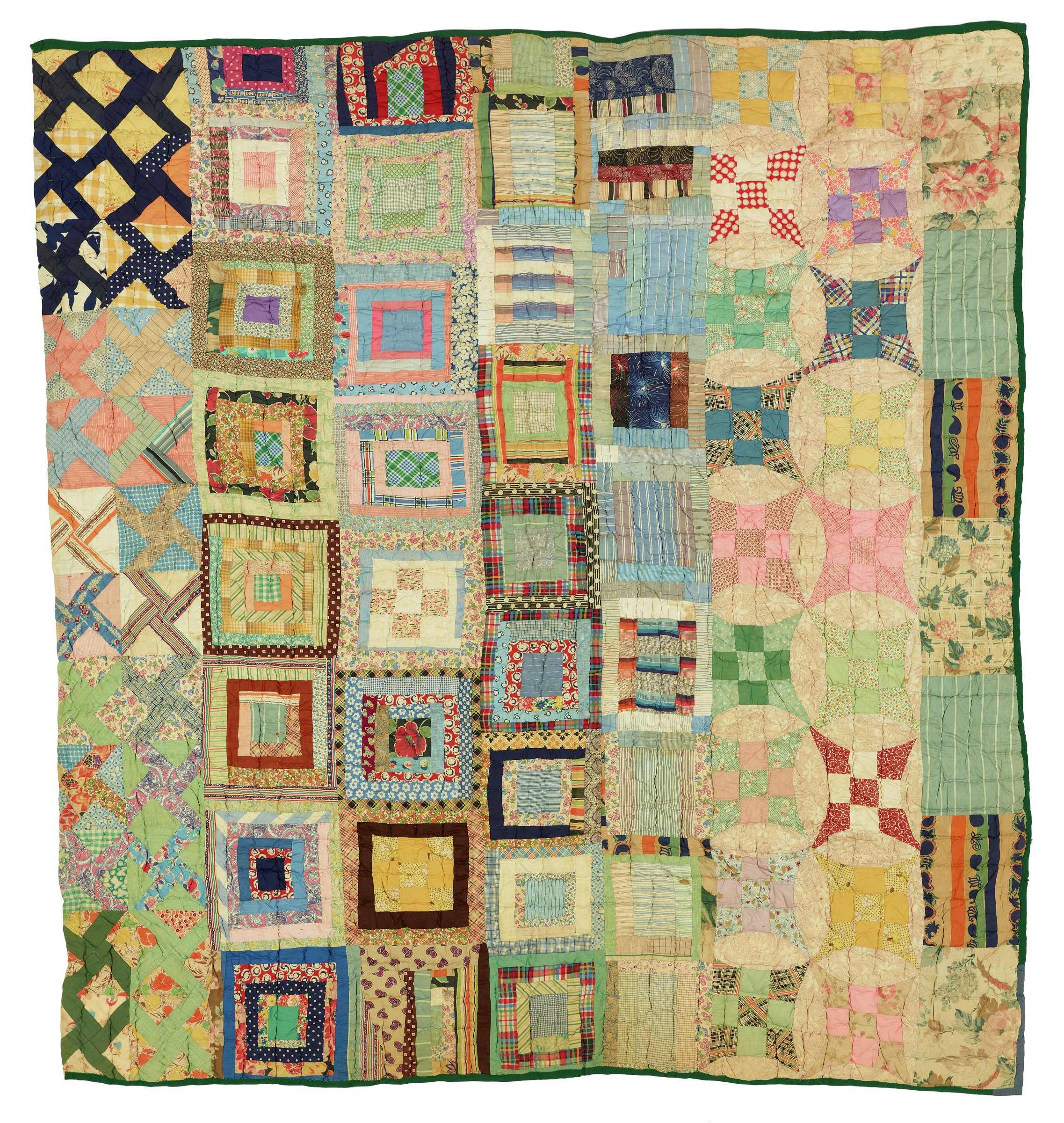 Large, roughly square quilt made of cotton feed sacks assembled in a grid pattern of 9 rows, each colorful quilt block made in a different pattern and some blocks are of different sizes, the whole a conglomeration of geometric and floral motifs in soft and subdued colors.