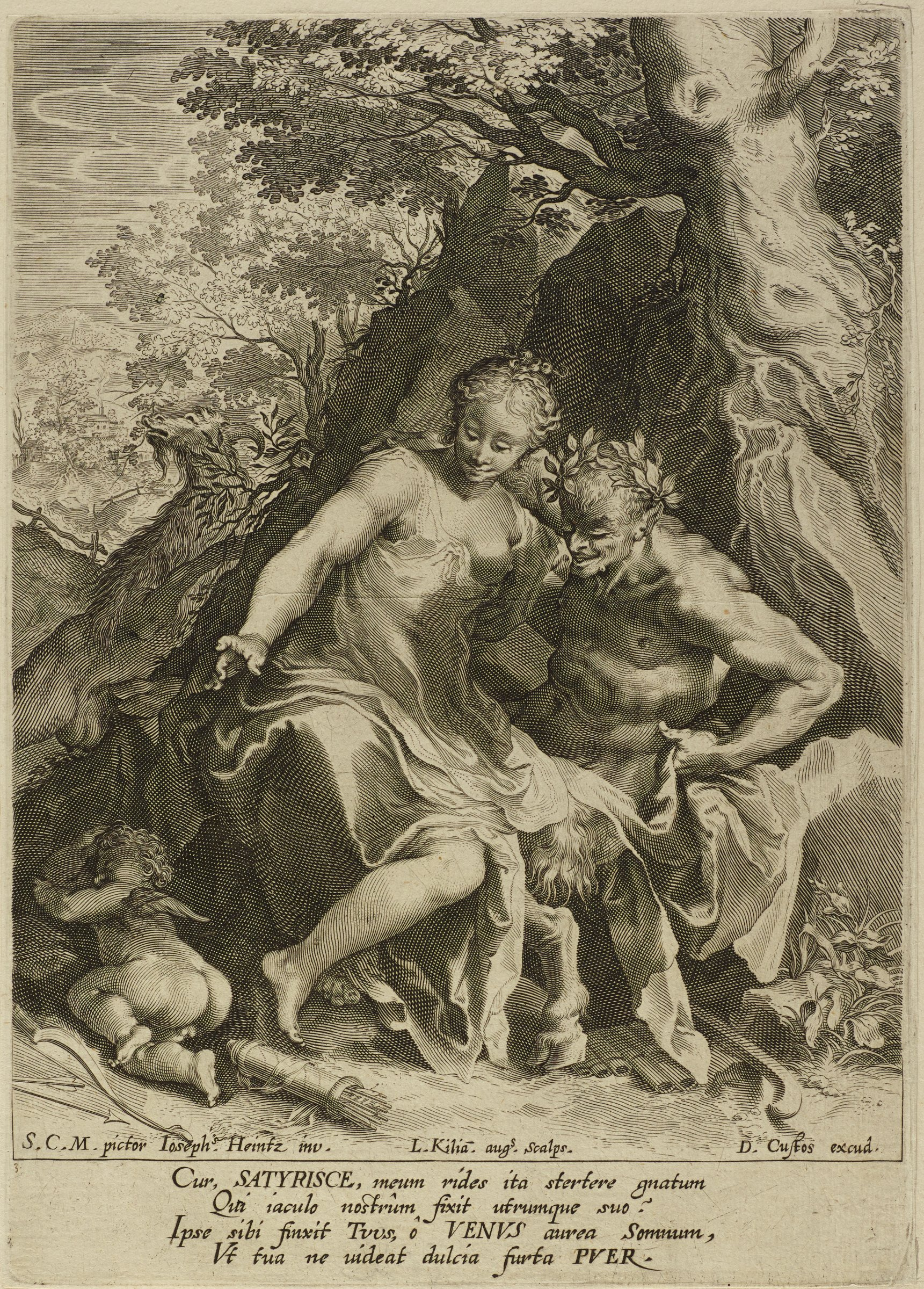 A nymph sits on the knees of a satyr under a tree. Cupid sleeps on the left as the nymph and satyr look down at him.