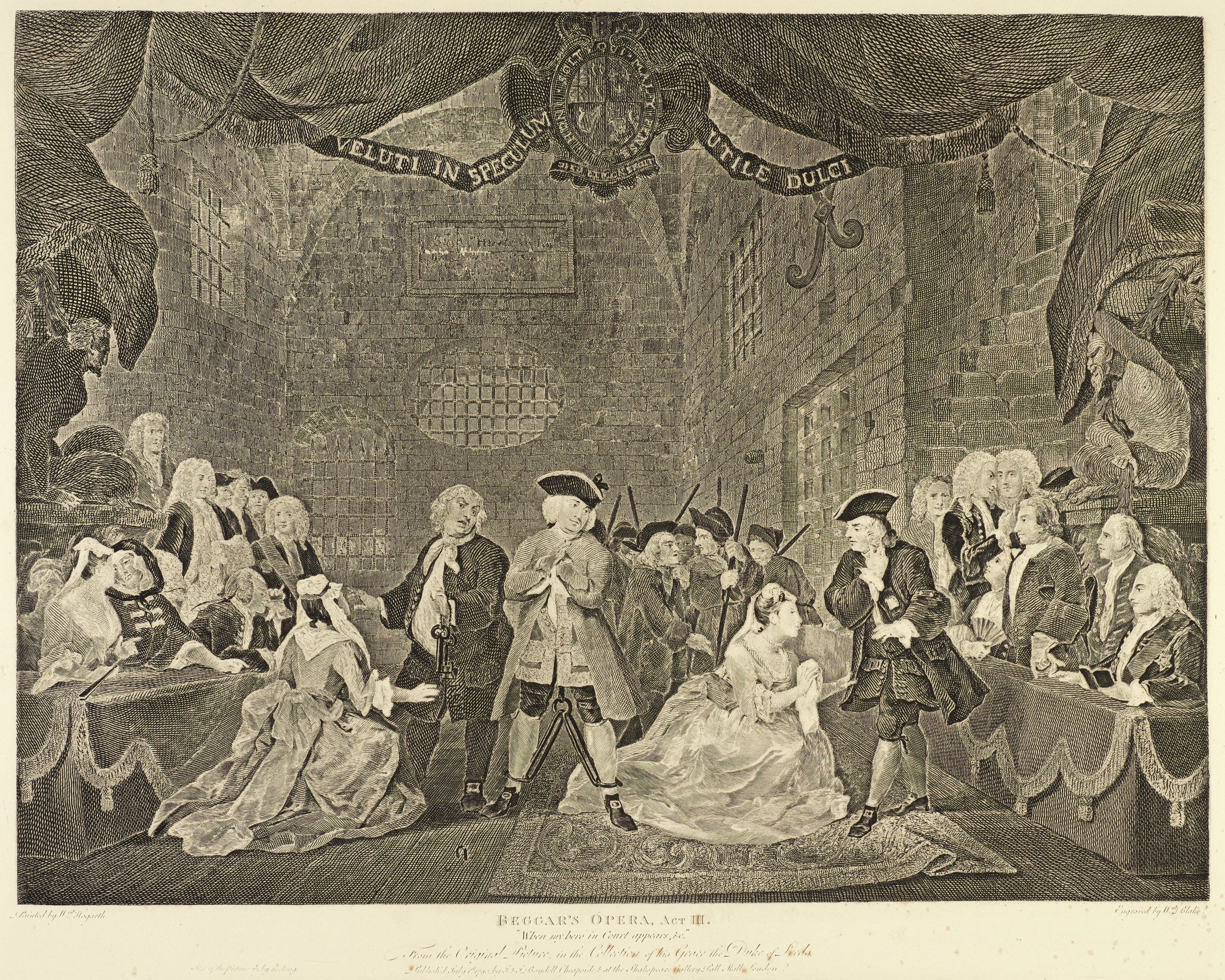 A man is chained in the center of the composition. Two elegantly dressed women are pleading with men of the court. Armed officials stand in the background. A gossiping audience is seen on the right and left of the room.