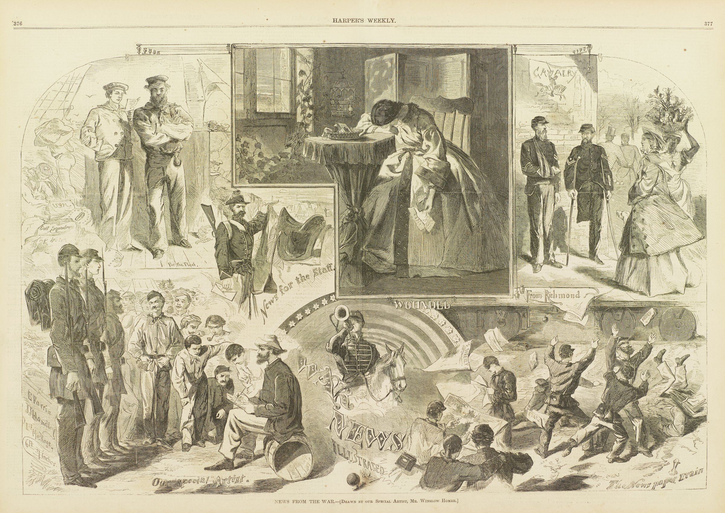 """Composite image with vignettes depicting how news was conveyed during the Civil War. Clockwise, from top center: (1) In """"Wounded,"""" a woman buries her head in hand after receiving a letter from the front telling her a loved one has been wounded. (2) In """"From Richmond,"""" wounded soldiers who have returned home from battle speak to a woman in the street.; (3) """"The Newspaper Train"""" depicts soldiers as they rush to greet a train from which newspapers are being thrown.; (4) Above the title """"War News Illustrated,"""" a soldier on horseback blows a bugle.; (5) In """"Our Special Artist,"""" Winslow Homer sits atop a barrel turned on its side, sketching Union soldiers in camp.; (6) """"News for the Staff"""" depicts the arrival of a courier with a letter for a commanding officer.; (7) In """"For the Fleet,"""" two sailors wait at mail is distributed."""