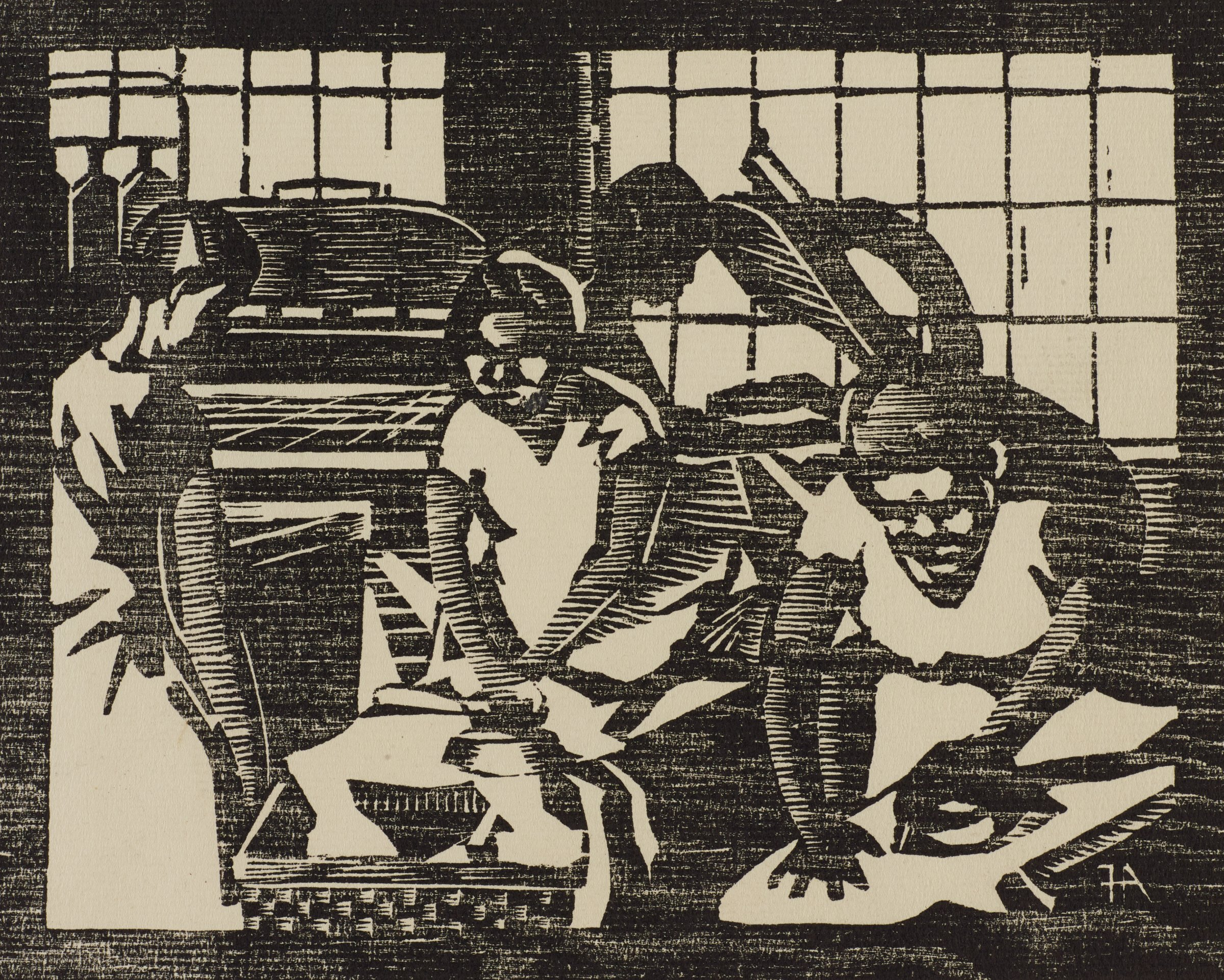 Laundry, Frank Hartley Anderson, woodcut