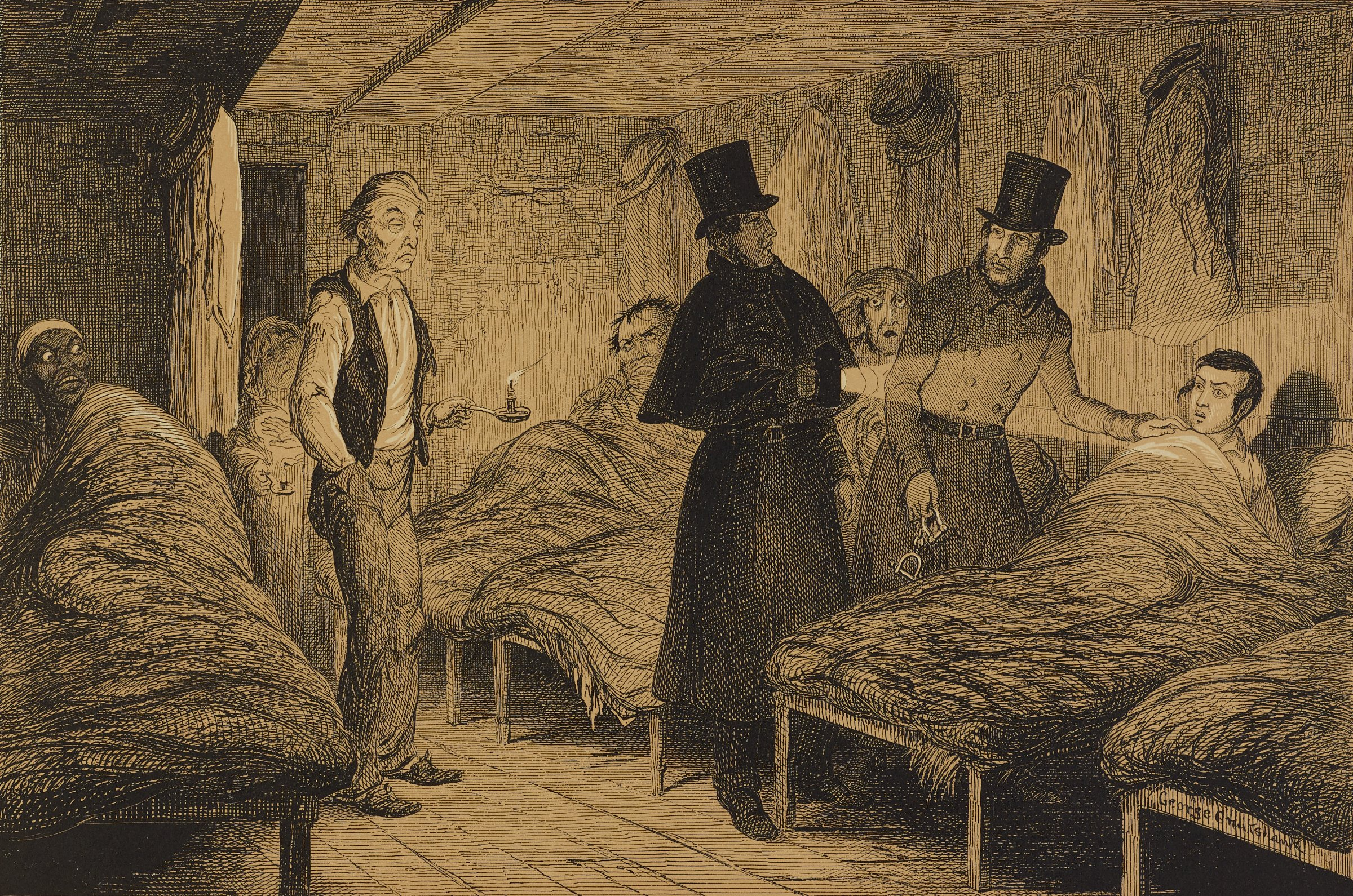Two police officers stand over the bed of a young man with a surprised expression. Other men rise from their beds with various expressions.
