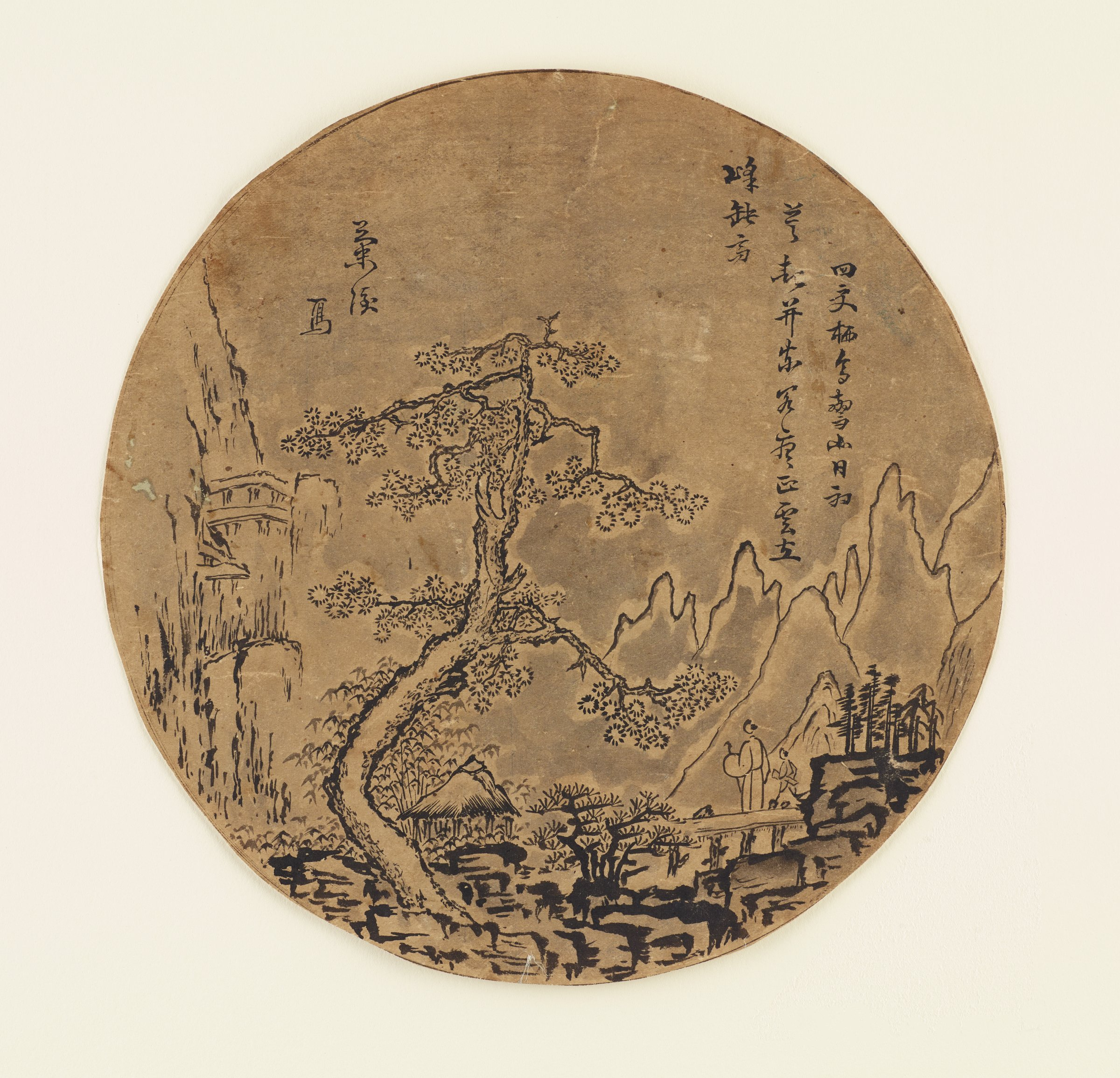 Landscape with Foot Travelers among Snowy Pines and Bamboo in circular fan format.