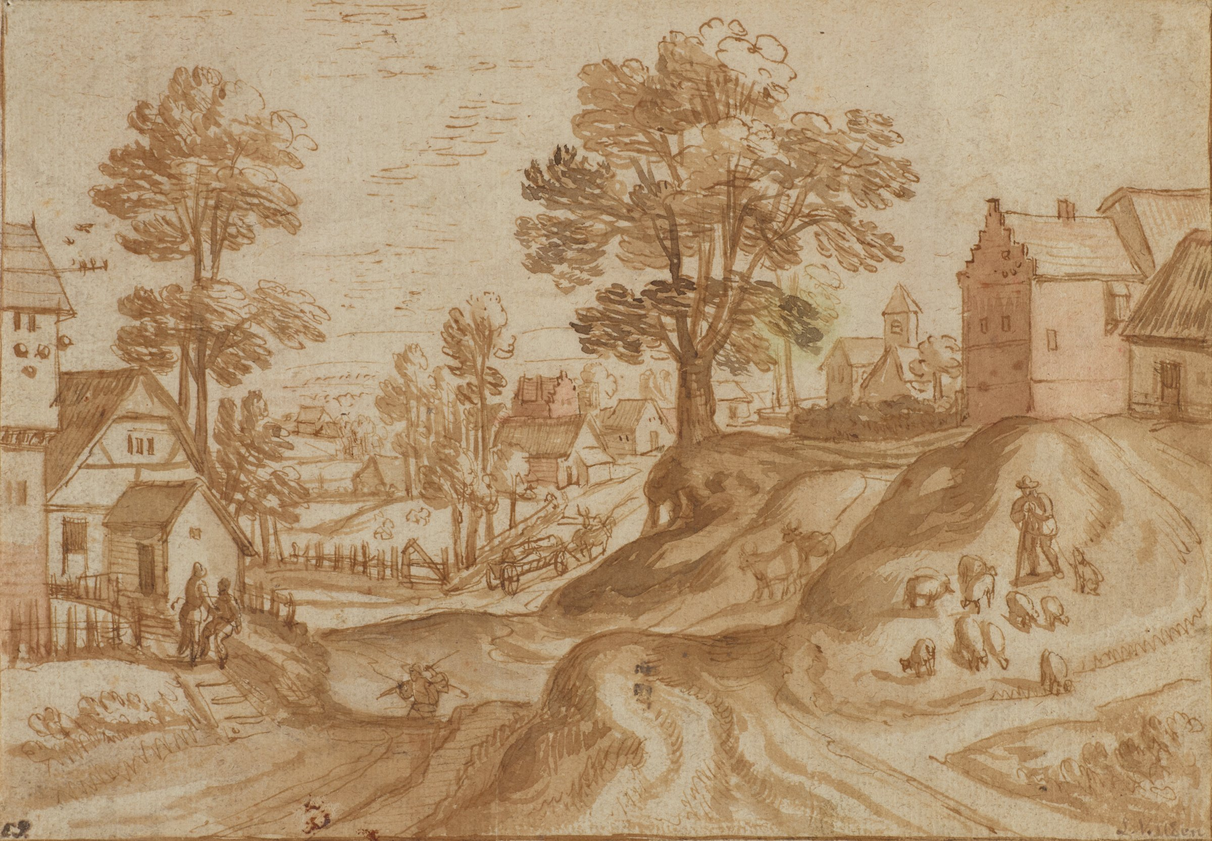 Scene of a village dispersed among a hilly landscape. A flock of sheep graze the right hillside. Villagers are seen engaged in various activities. The tree near the center of the composition contains traces of green and pink wash.