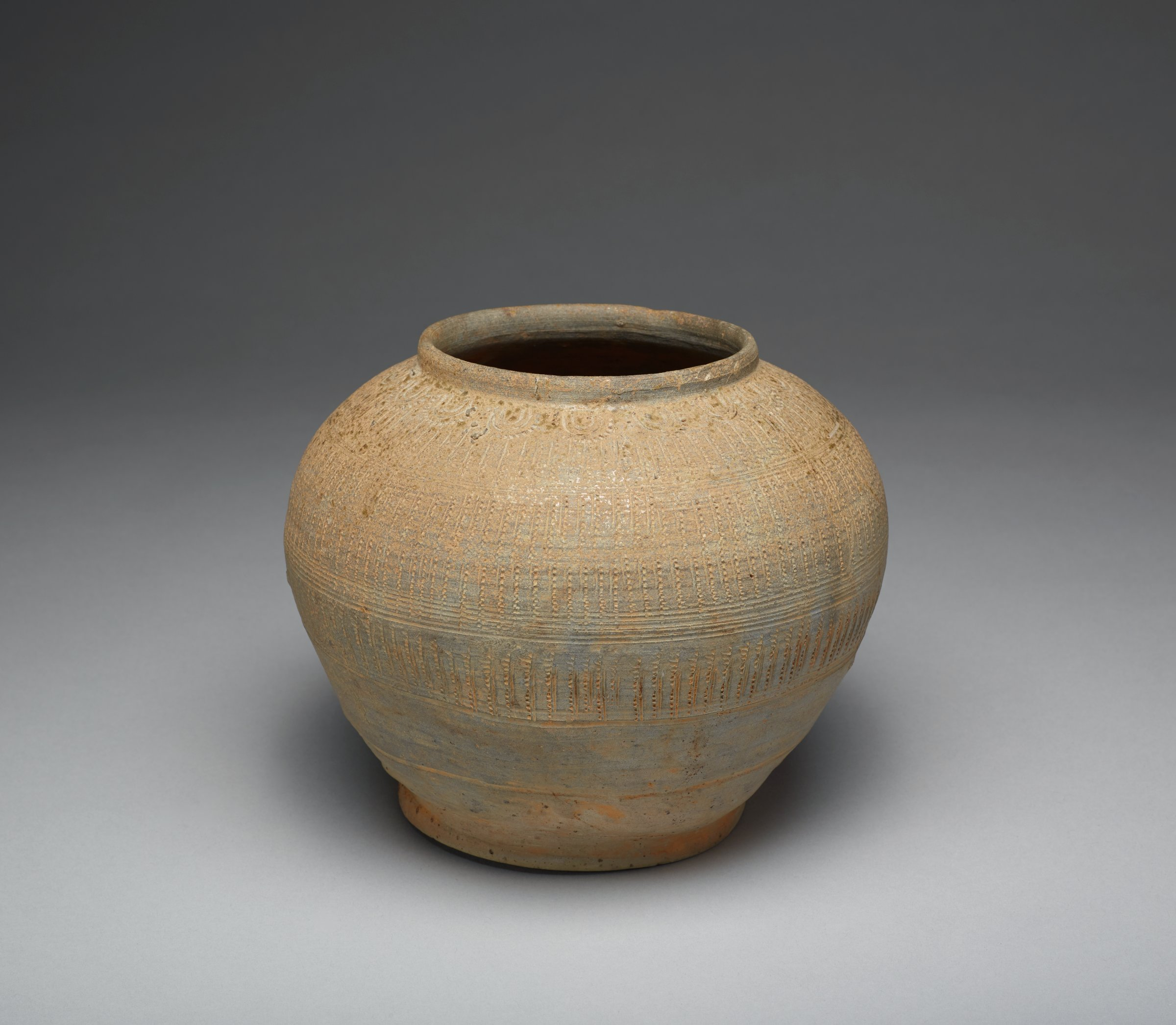 Wide-Mouth Jar With Stamped Geometric Motifs