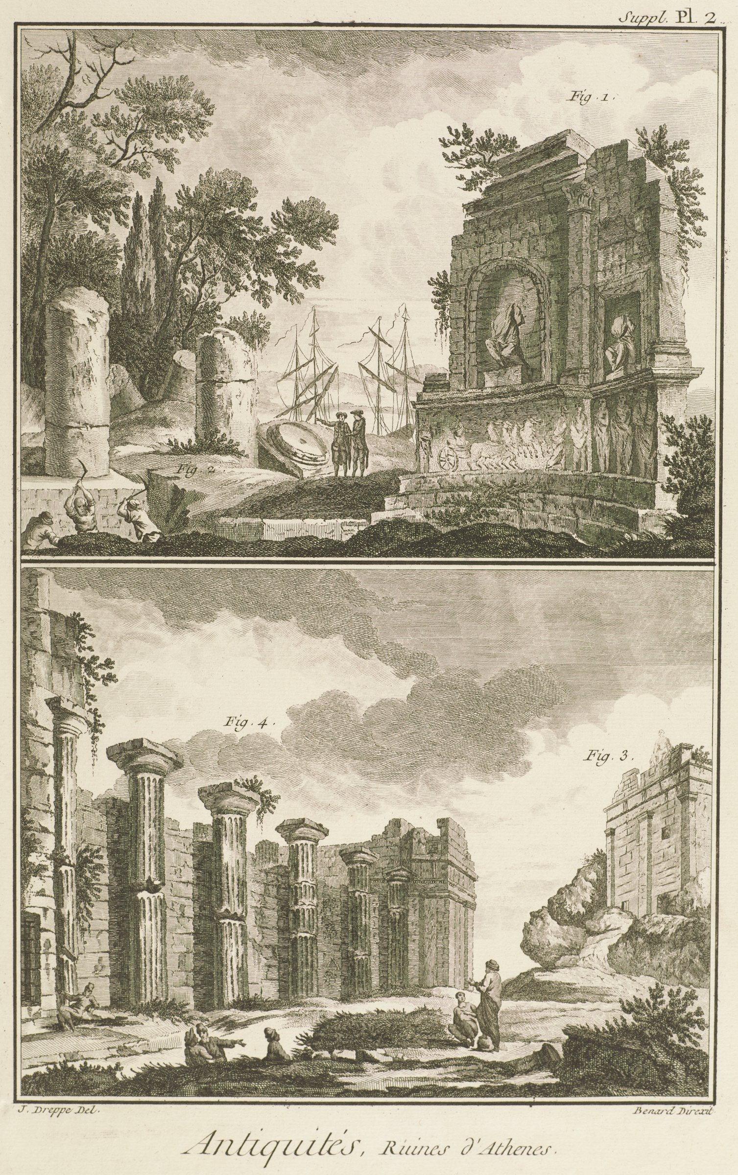 The upper register portray the ruins of the Philopappos monument and the temple of Mount Laurium, and the lower register portrays the Thrasyllus monument and Propylaea.