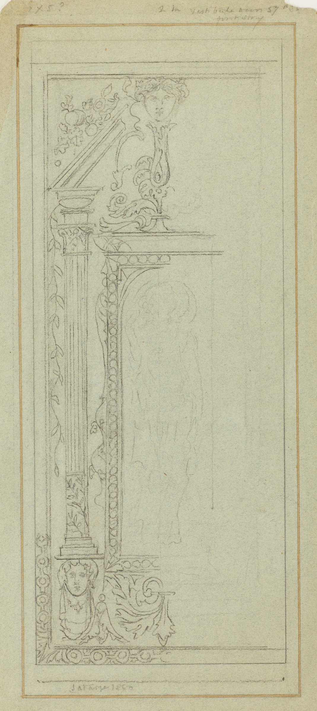 Along with companion work, studies for stained glass windows set in doors.  The first panel [AFI293.2010] is embellished with a female figure, classical busts, and floral motifs, flanked by Corinthian columns; the second panel [AFI293.2010] is decorated with a classical fountain, shield, and winged head, perhaps the god Mercury.
