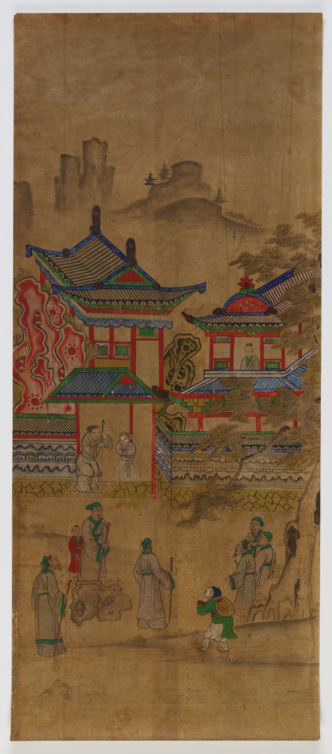 3/8. Illustrated Stories Exemplifying the Five Confucian Virtues (Oryun Haengsildo)One of eight unmounted screen panel paintings with scenes of filial piety. Originally intended to be mounted as a folding screen.