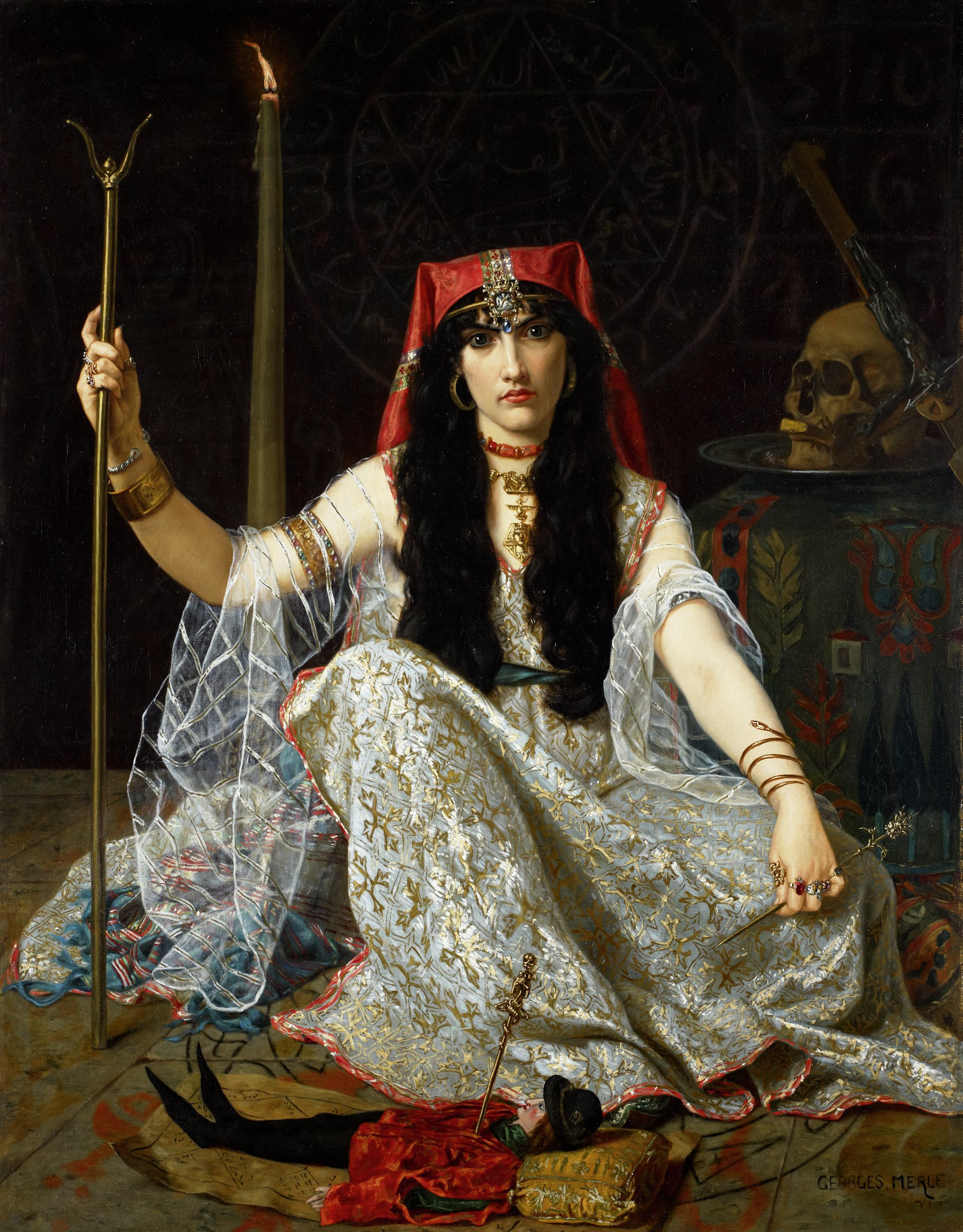 The painting is dominated by a seated female figure gazing directly at the viewer. She wears a dress of white and gold material, edged in red, with long gauzy sleeves; a red head covering; and elaborately decorated jewelry including a headband, earrings, multiple necklaces, bracelets, and rings. She holds a staff in her proper right hand, and a long, decorated pin in her left. Before her is a doll dressed in a medieval costume, with a pin stuck through his heart. A tall, slender candle is just behind her proper right arm. On the other side is a table covered with a cloth. On the table is a platter with a skull and an upside-down crucifix. The female figure is seated within a pentacle inscribed on the floor; another is directly behind her on the wall. Also on the back wall, to the left of the pentacle, is a skeleton; to the right of the pentacle is a series of numbers inscribed in squares.