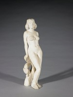 White, unglazed stoneware figure of a standing nude woman, her right leg slightly bent and her body leaning slightly backwards, both hands resting on a stylized plant for support, her hair slightly rolled and shoulder length, and her gaze directed to the right.