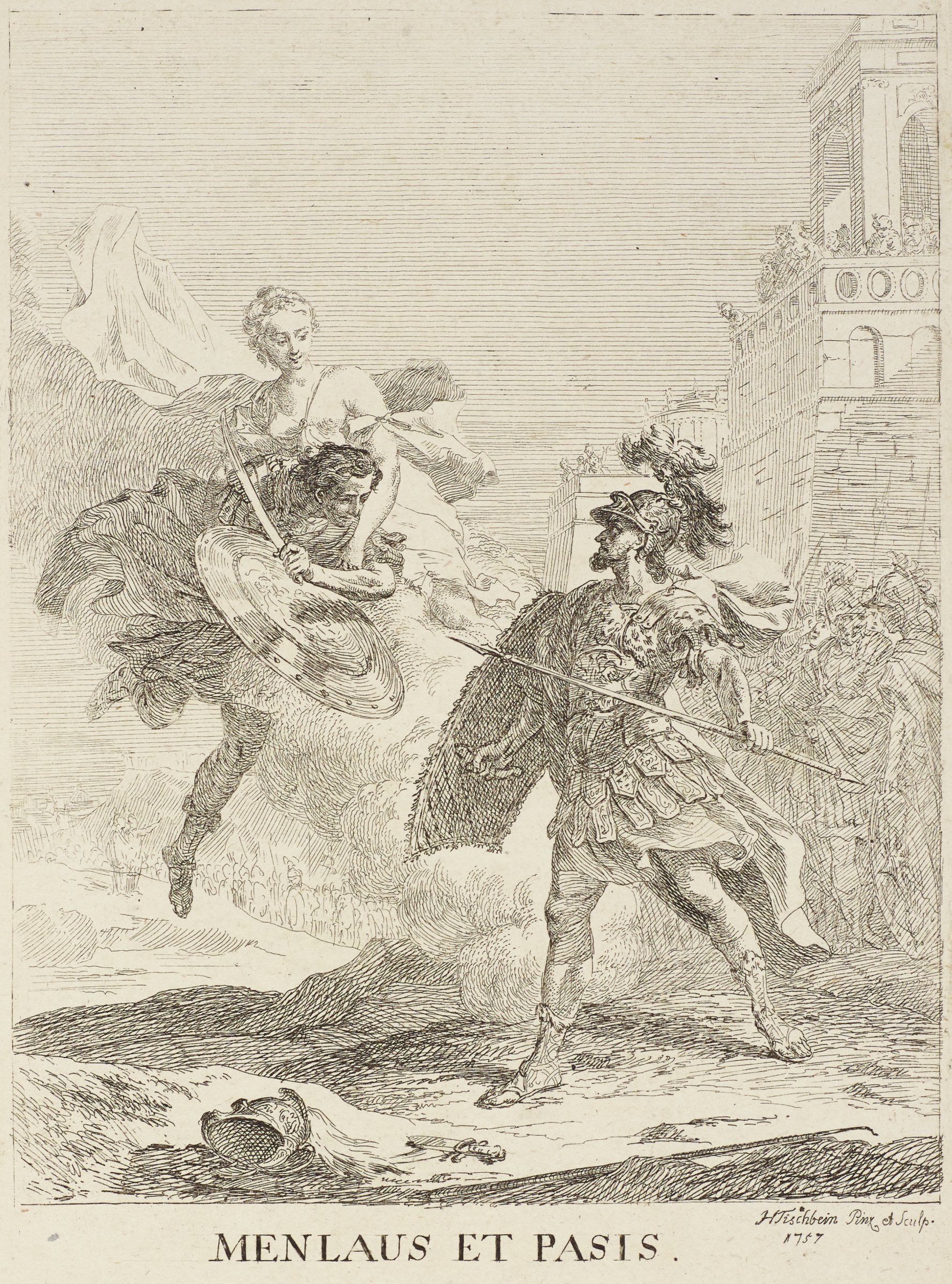Two armed soldiers fight one another in the center of the scene. The soldier on the left is held by a goddess and lifted upwards.