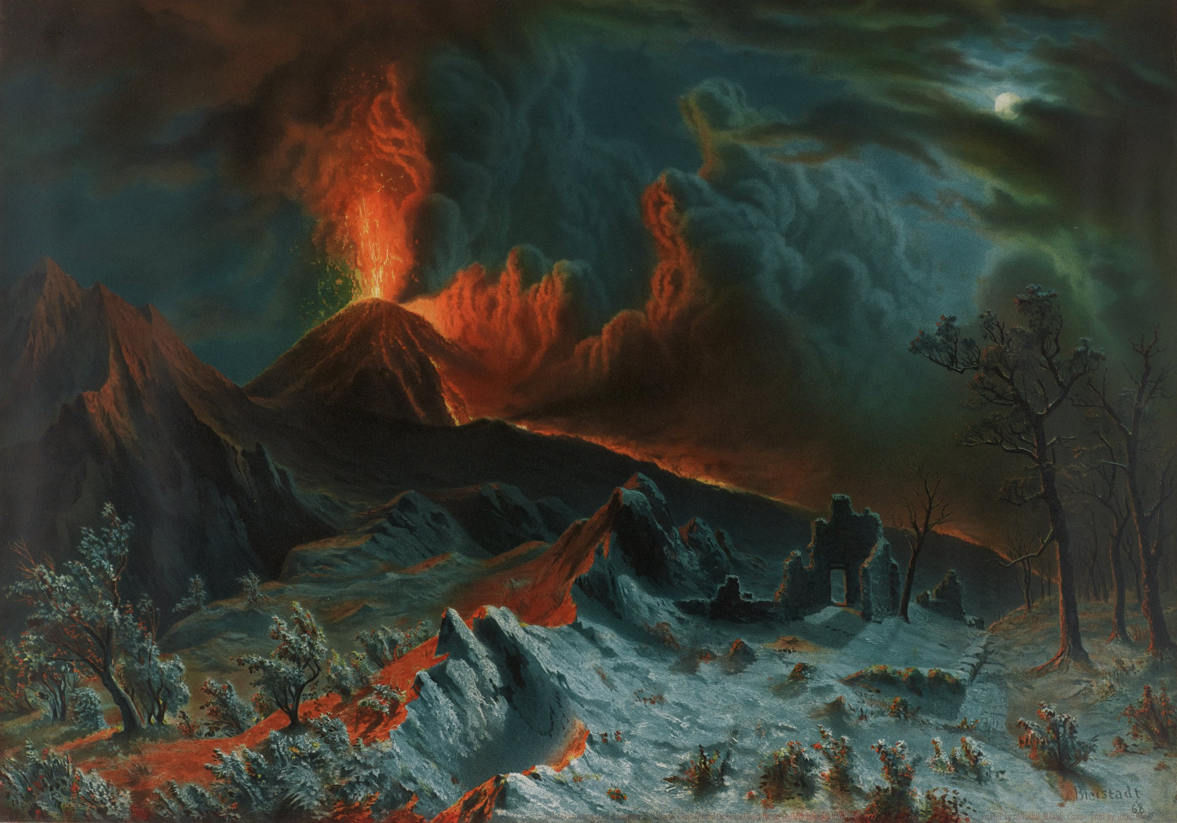 Mount Vesuvius at Midnight, J. Jehenne , lithographer, Etienne Isidore Hangard-Maugé , printer, After the original painting by Albert Bierstadt, chromolithograph