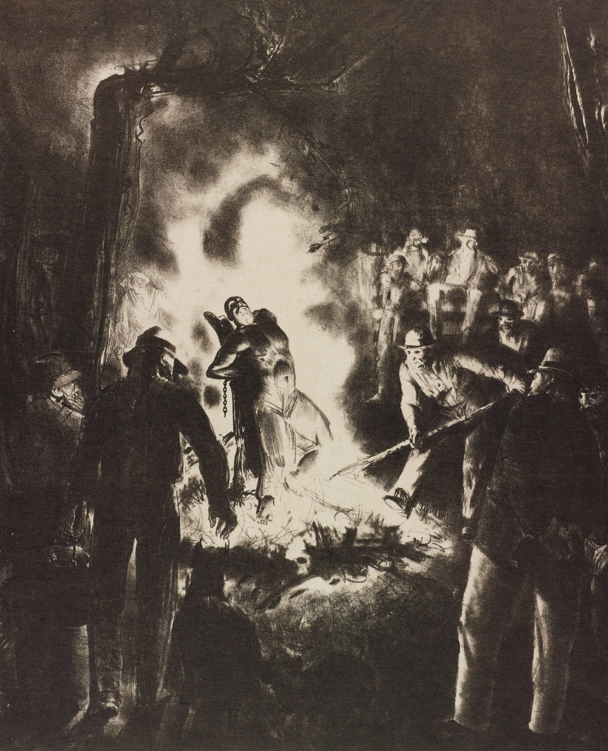 Night scene of black man bound to stake by chains, burned alive; to right, man stokes fire with pole; crowd of white onlookers surround the fire.