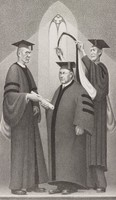 The figures represented are Dean Emeritus Carl E. Seashore (1866-1949)of the Graduate College (right), Grant Wood (center), and Professor Norman Foerster (1887-1942) of the School of Letters (left), all of the University of the Iowa.  Although Wood had no formal degree after high school, he received a number of prestigious honorary degrees, including a Doctor of Letters (D.Litt.) degree from the University of Wisconsin in 1936 and a Doctor of Fine Arts (D.F.A.) from Lawrence University in 1938.  The collegiate Gothic window in the background, which rhymes visually with the shape of the academic hood Wood is about to receive, is a subtle reference to the painter's iconic masterpiece, American Gothic (1930, Art Institute of Chicago).