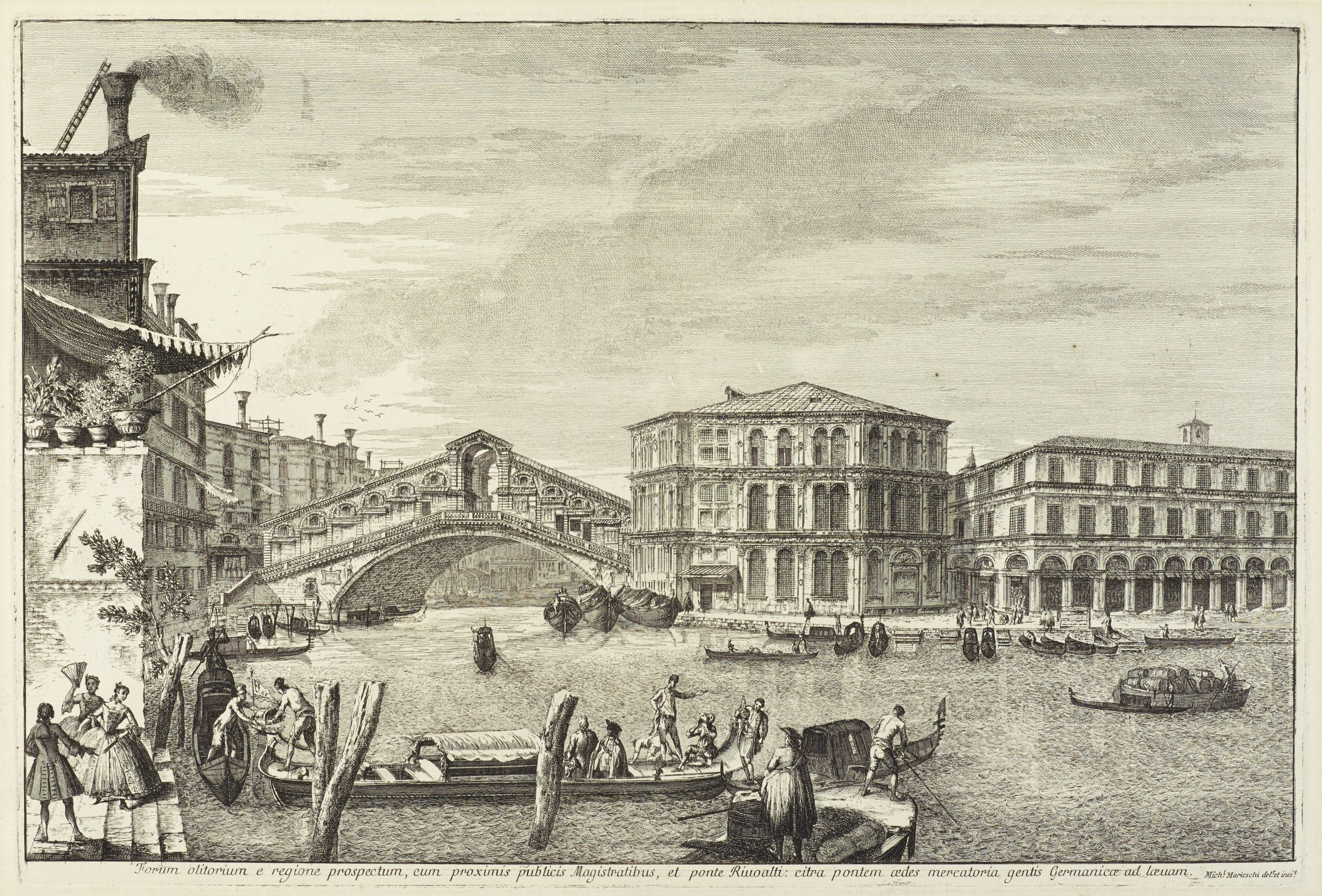 A scene of Venice with the Rialto Bridge and the Palazzo dei Camerlengthi featured in the background. Gondolas carrying people and goods populate the river. Elegantly dressed figures stand on the bank at the left.