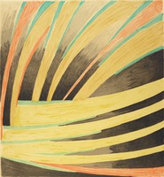 An abstract composition that mimicks large brush strokes in blue, yellow, orange, and black. This print is part of a portfolio.