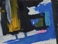 The work is dominated by a large, irregular area of black paint on the left side of the paper. Strokes of yellow and gray paint are interposed in the area of black. A complimentary shape of blue paint emerges from the lower left side of the painting and winds its way around the black area on the right side. The area of blue is adjacent to a slanted stroke of dark gray paint on the far right. In the center of the work is a square of blue and green paint outlined in black.