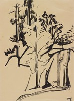 Waterfall, Marguerite Thompson Zorach, India ink on paper