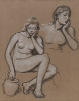 Female nude figure with vase with partial figure. Drawn on both sides. A head is on verso.