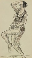 Isadora Duncan, Abraham Walkowitz, pen and ink on paper
