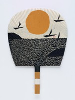 Bamboo supported fan of sun rise/set with birds over waterRound Ribbed Fan with double-sided Prints of Sun, Birds, Fish, Mountains and Ocean