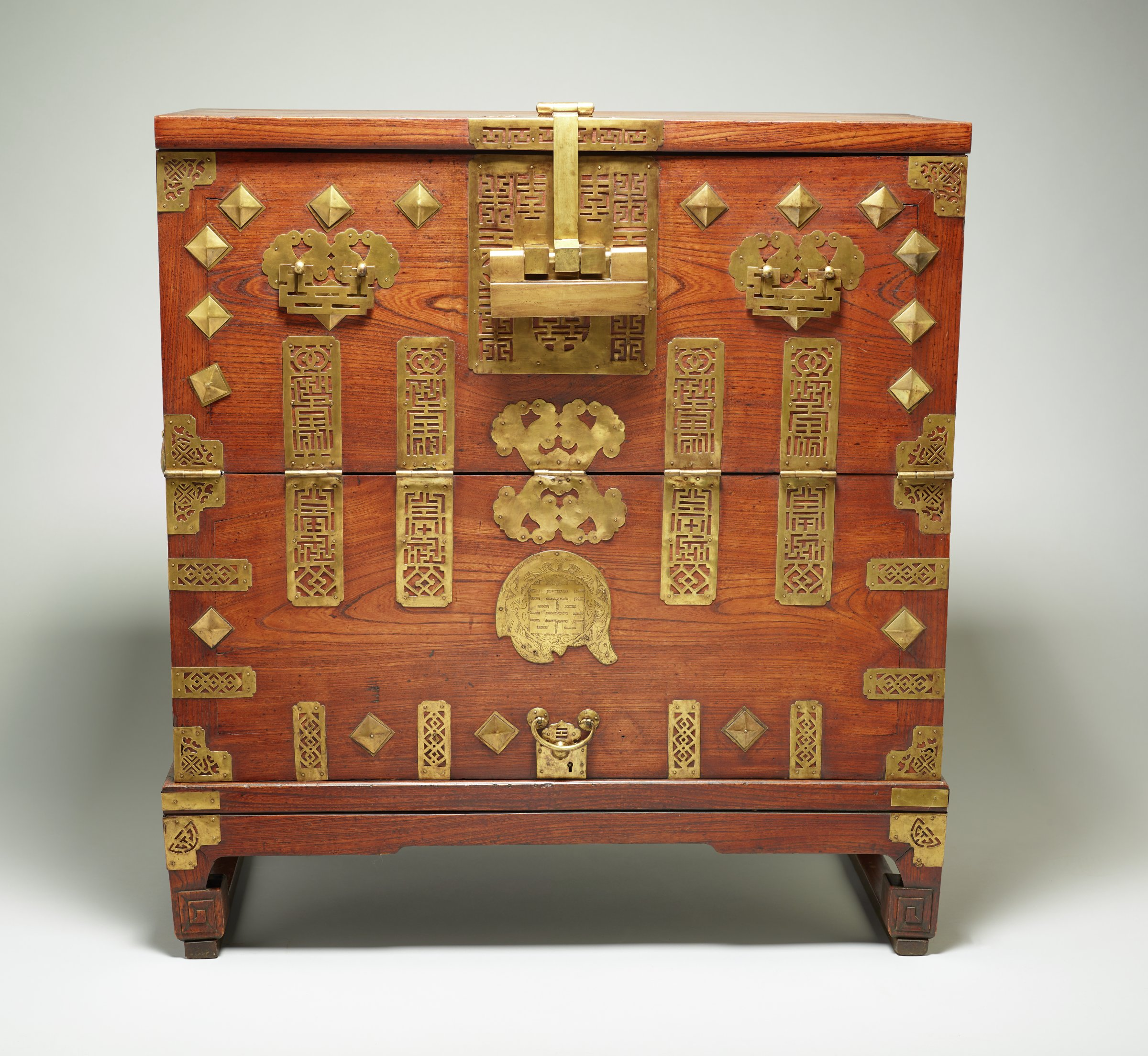 Chest (Bandaji) with Double Happiness, Butterfly and Fish Motifs, Korea, pinewood and brass