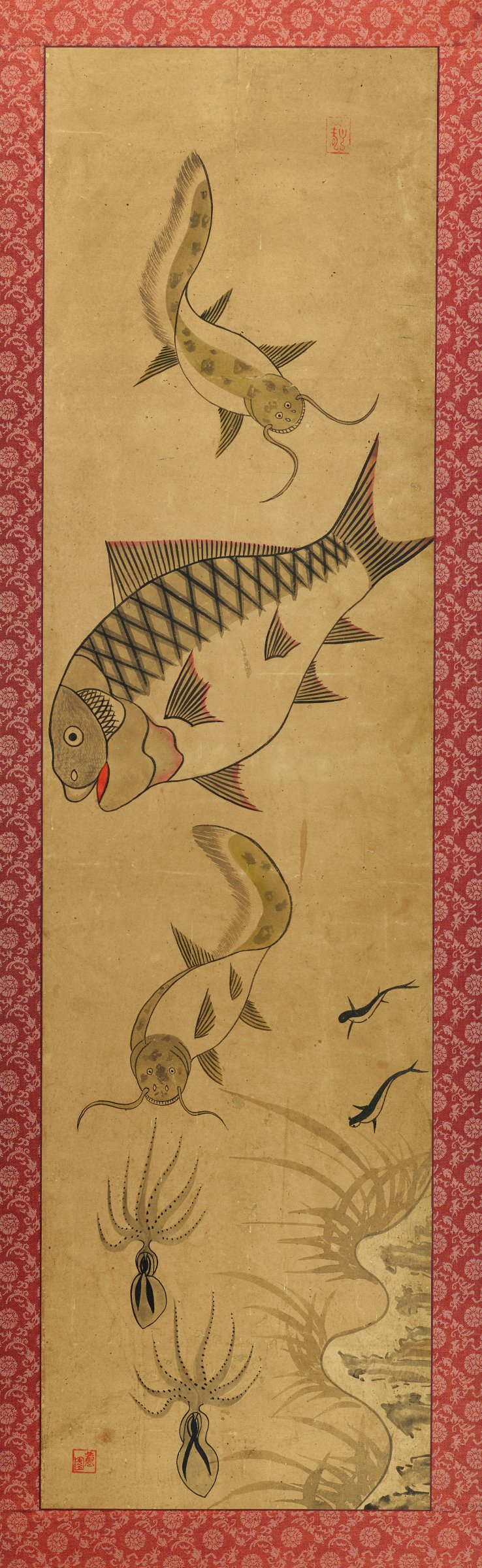 One of a pair of mounted and framed scroll paintings, depicting fish, catfish, and octupi