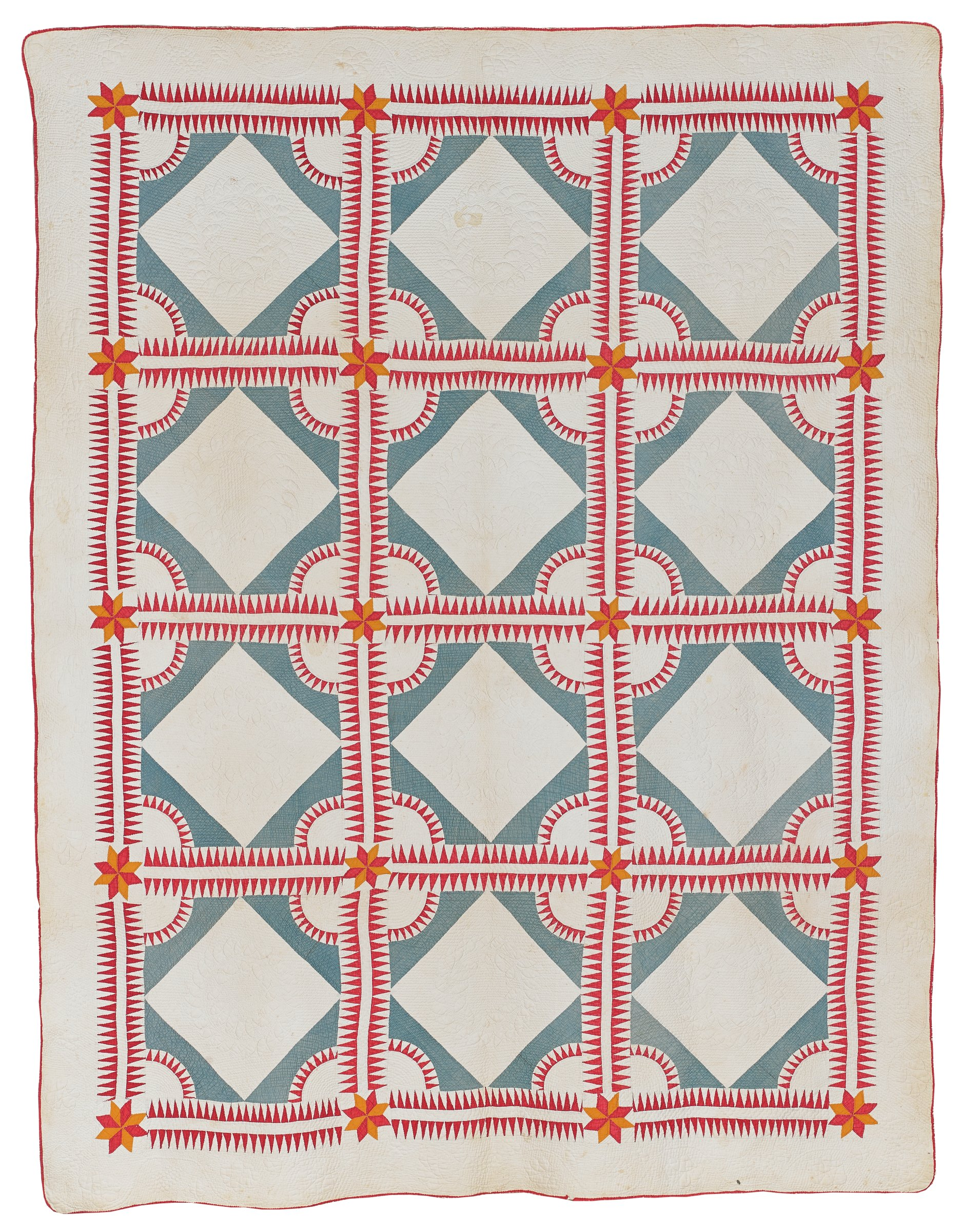 """Large quilt in a variation of the """"Whig's Defeat"""" pattern, on a cream-colored cotton ground a grid of twelve squares each enclosed in a pattern of double bands of repeating nailhead, or dogtooth, motifs in red cotton, at each corner an eight-point star in alternating orange and red, in the center of each square a cream-colored diamond on light blue ground with half-circle notches at each corner highlighted by a band of like nailhead motifs also in red, the backing cream-colored cotton, edged in red."""
